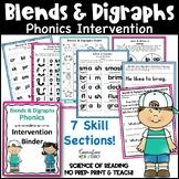 Reading Intervention Phonics & Fluency Binder Blends Digraphs Distance Learning