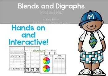 Blends and Digraphs Print and Play Literacy Centers