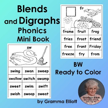 Blends and Digraphs Minibook in Black and White Art