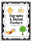 Blends and Digraphs Posters - Black Chevron