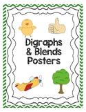 Blends and Digraphs Posters - Green Chevron