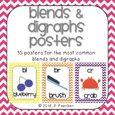 Blends and Digraphs Posters in Bright Chevron