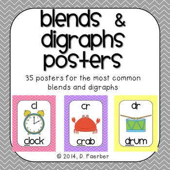 Blends and Digraphs Posters in Pastel Chevron