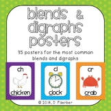 Blends and Digraphs Posters in Polka Dots