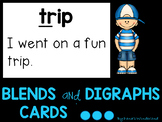 Blends and Digraphs Flash Cards with Sentence Reading