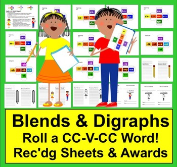 Blends and Digraphs Roll A CC-V-CC-Word Center: Real or Nonsense???