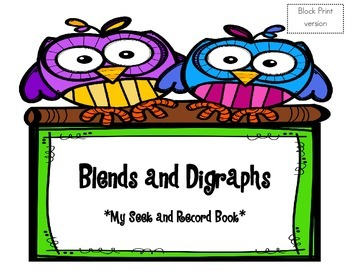 Blends and Digraphs Seek and Record Book - BLOCK print