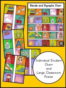 Blends and Digraphs Student Chart and Classroom Poster
