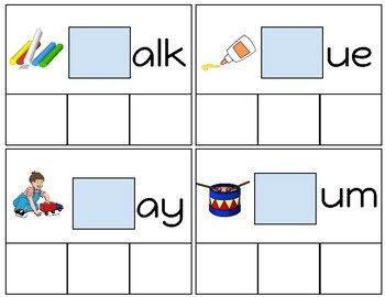 Blends and Digraphs Tasks Cards- Interactive Activity for Students With Autism