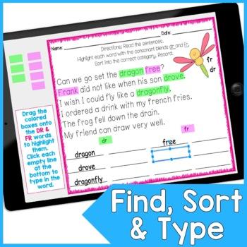Blends and Digraphs Word Work for Google Slides™