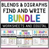 Consonant Blends and Digraphs Worksheets Kindergarten First Second Grade Phonics