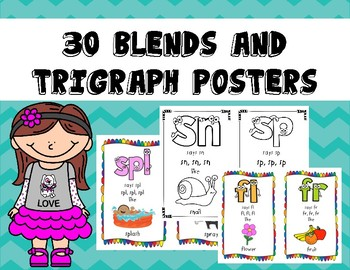 Blends and Trigraph Mini Posters (in Color and Black and White)