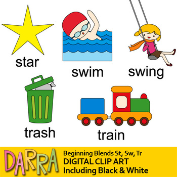 Blends clipart / Initial blends St, Sw, Tr (word families clip art)