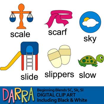 Blends clipart / phonics clip art (word families) beginning Sc, Sk, Sl