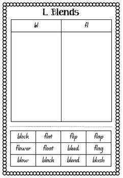 Blends cut & paste sorting worksheet - bl & fl