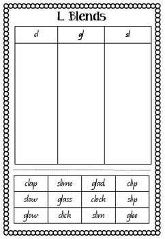 Blends cut & paste sorting worksheet - cl, gl & sl