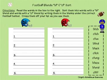 Blends for Football, Part 1: Decoding Game -  bl, cl, gl, & fl