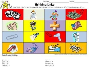 Blends: l blends bl, cl, fl, gl, pl, sl Thinking Links Activity - King Virtue