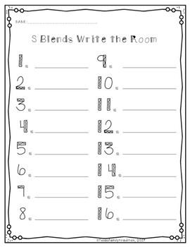 Blends (r, l, & s) Write the Room Bundle