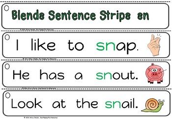 Blends sentence strips -sn.(freebie)