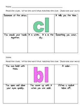 Blends with Consonant L Literacy Station Word Work