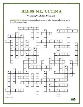 Bless Me, Ultima: 50-word Prereading Vocab Xword—Helps Prepare Students!