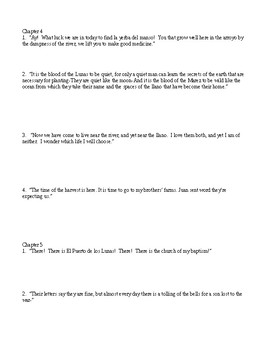 Bless Me, Ultima  Chapters 3-5 Quotation ID Quiz & KEY
