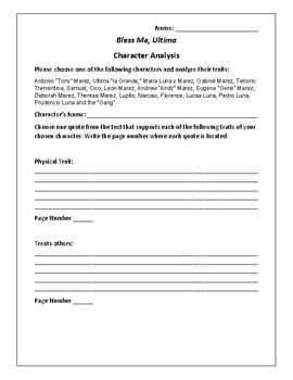 Bless Me, Ultima - Character Analysis Activity - Rudolfo Anaya