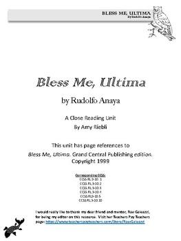 Bless Me, Ultima Close Read Unit