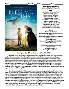 Bless Me, Ultima Film (2013) Study Guide Movie Packet