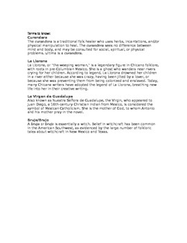 Bless Me Ultima Vocabulary Study, Vocabulary Words in Context Ch. 1-3