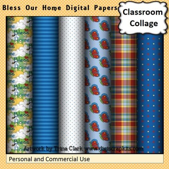 Bless Our Home Digital Papers Set Color  personal & commercial use