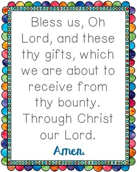 Bless Us Oh Lord Poster. Prayer, Blessings, Dinner, Meals.
