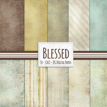 Blessed Digital Papers, Elegant Chic Neutral Backgrounds,