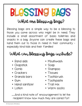 Blessing Bags FREEBIE - World Kindness Day