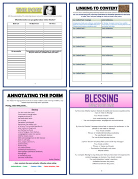 Blessing - Imtiaz Dharker - Comprehension Activities Booklet!