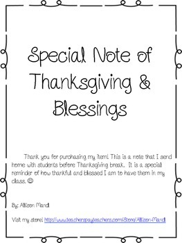 Note of Thanksgiving for Students