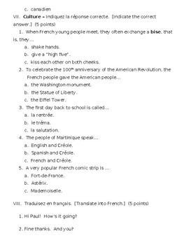 Bleu Unit 1 Leçon 1 Test