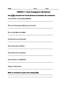 Bleu, Unit 3 ETRE, FAIRE, Locations Worksheet
