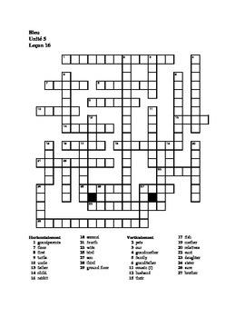 Bleu Unit 5 Lecon 16 crossword