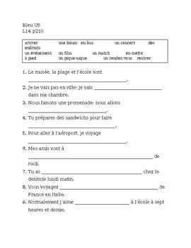 Bleu Unit 5 Leçon 14 Vocabulary worksheet