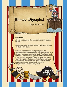 Blimey Digraphs - A Pirate Themed Game to teach the digraphs sh, ch, th & wh