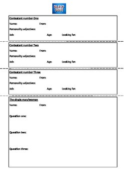 Blind Date:  English Conversation Game Worksheet