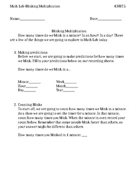 Blinking Multiplication: Math Lab Product