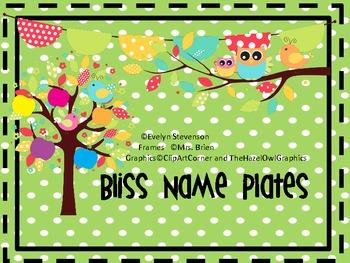 Bliss Editable Name Plates