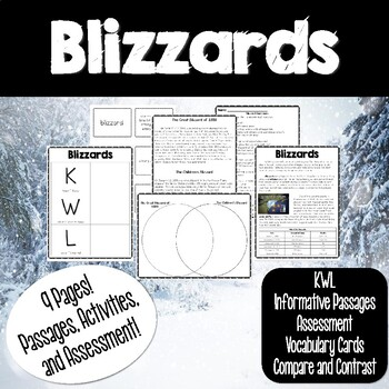 Blizzard Passage with Text Features Questions