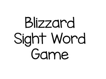 Blizzard Sight Word Game-Pre Primer Sight words with numbe