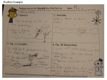 Blizzard by J Rocco: Thinking Boxes for Comprehension and Writing Gr 2 & up