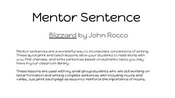 Blizzard by John Rocco mentor sentence- nouns POP