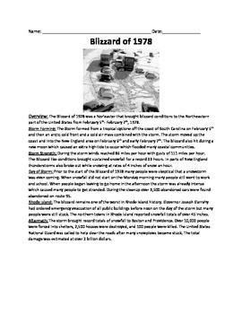 Blizzard of 1978 Review Article - History Questions Vocabulary activities